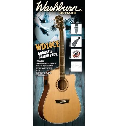 Washburn WD10CEB Acoustic Guitar Pack - Black
