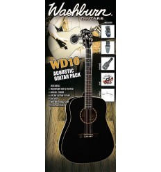 Washburn WD10B Acoustic Guitar Pack - Black