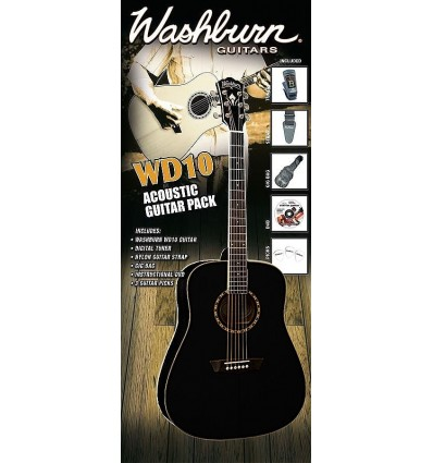 Washburn WD10B Acoustic Guitar Pack - Black